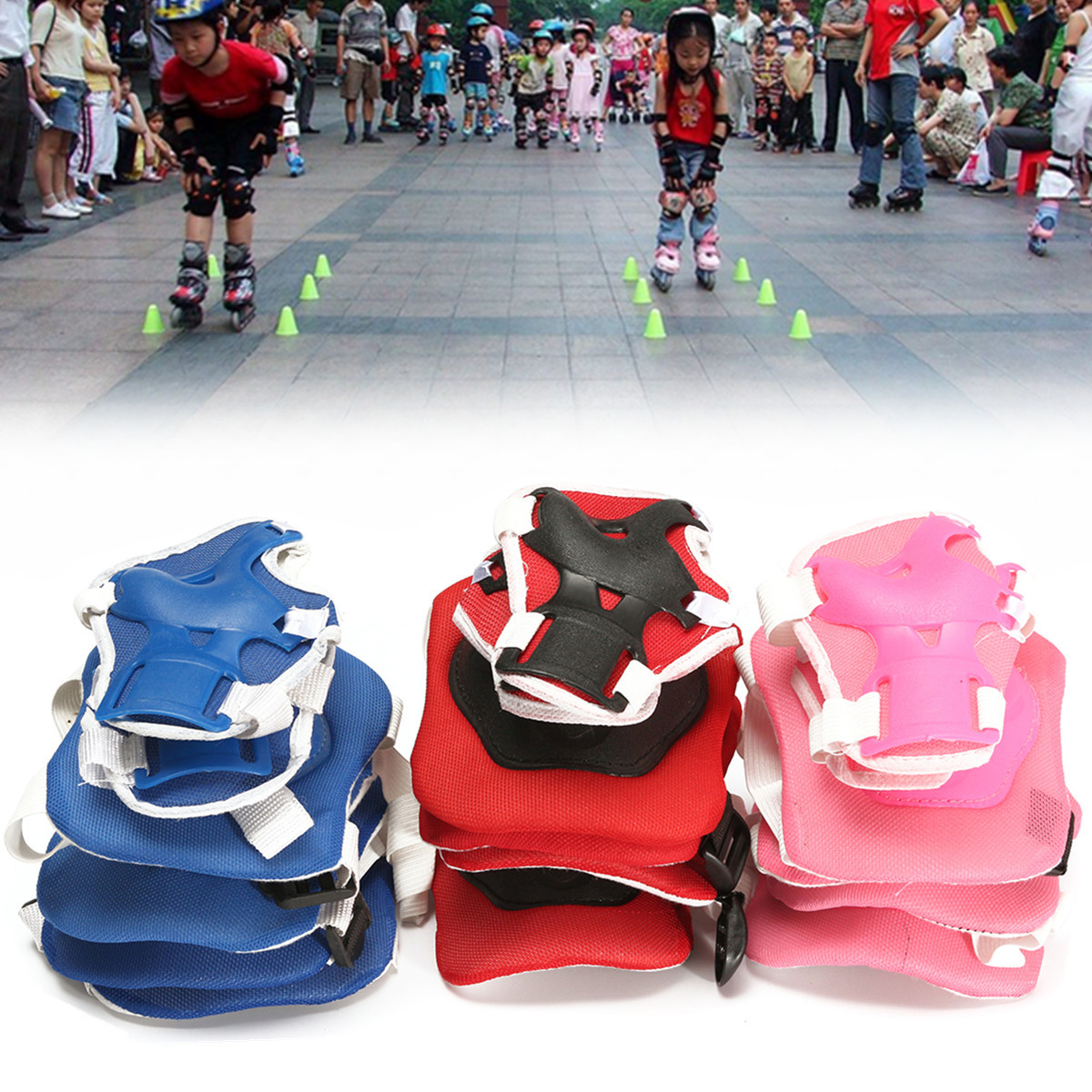 6Pcs Protector For Children Kids Elbow Knee Pad Wrist Guard in Skateboard Skating,Bicycling, Mountaineering[Blue, Red,... by