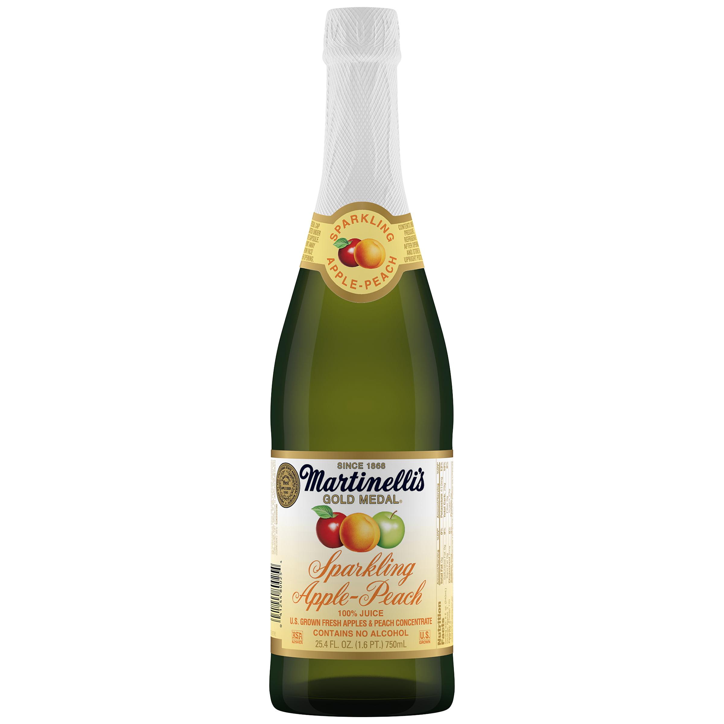 Martinelli S Gold Medal Sparkling Apple Peach 100 Juice 25 4 Fl Oz Walmart Com Walmart Com