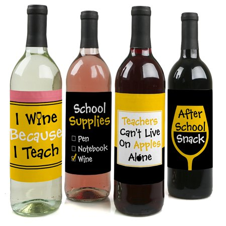 Best Teacher Gift - Teacher Appreciation Gift Wine Bottle Label Stickers - Last Day of School Gift - Set of 4