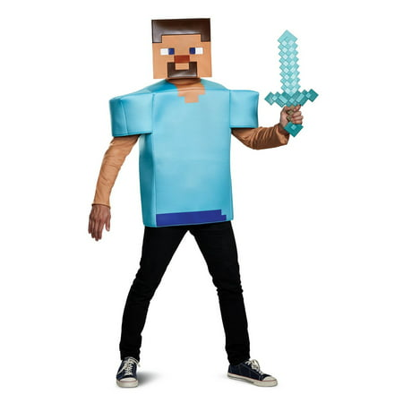 Minecraft Steve Classic Men's Adult Halloween Costume, One Size, (42-46) (Make A Minecraft Halloween Costume)