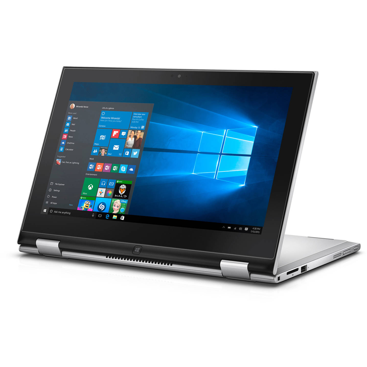 """Dell Silver 11.6"""" Inspiron 3147 2-in-1 Laptop PC with Intel Pentium N3540  Processor, 4GB Memory, touch screen, 500GB Hard Drive and Windows 10 Home  ..."""