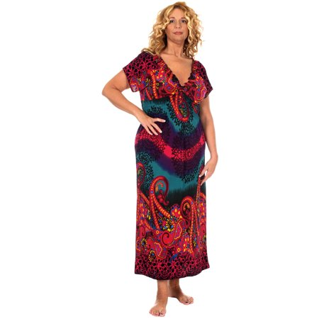Women's Plus Size Summer Maxi Dress with V-Neckline & Cropped Sleeves!](Flapper Dresses For Plus Size)
