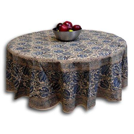 Vegetable Dye Block Print Floral Tablecloth Round Cotton 72 inches Blue (Bandana Print Tablecloth)