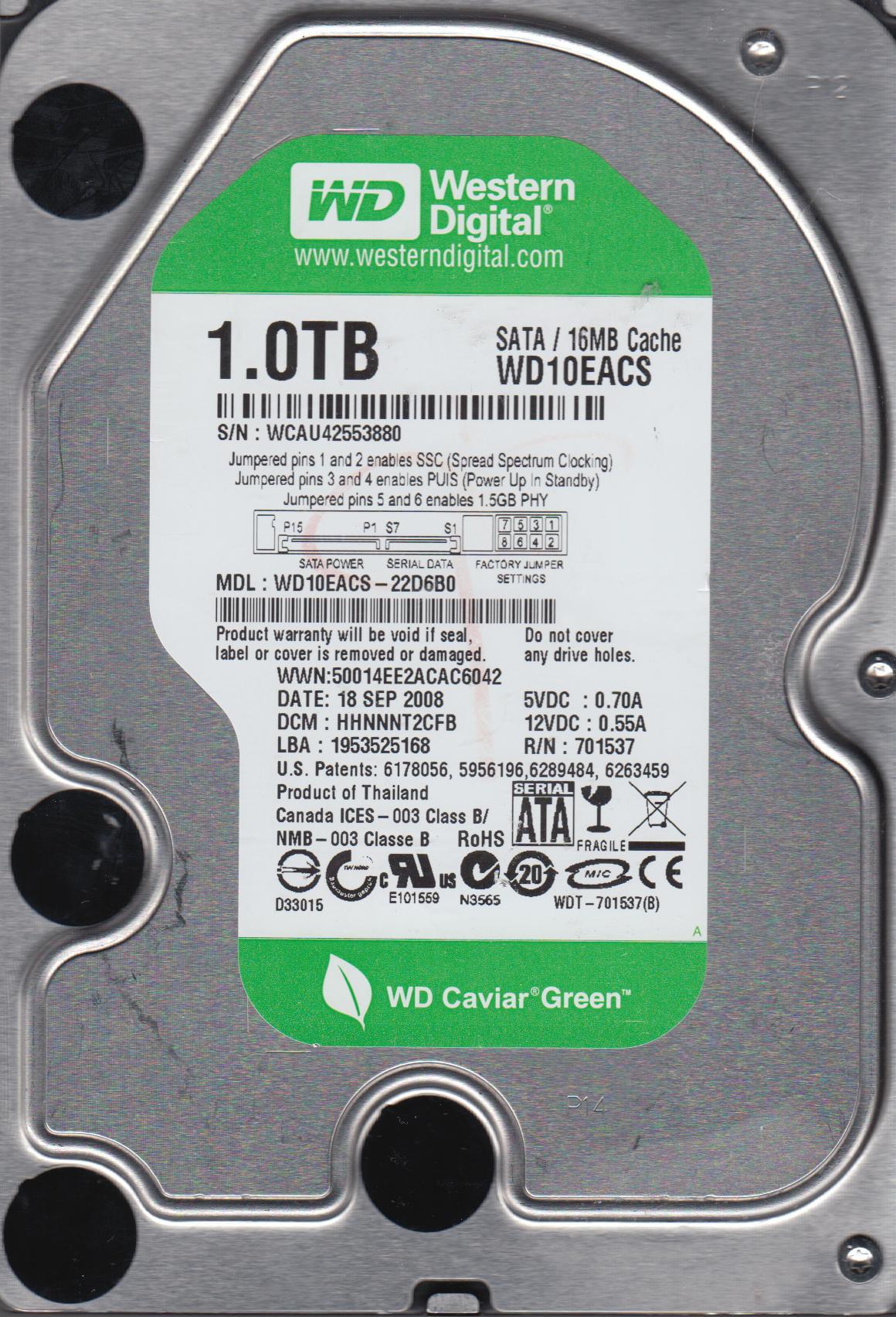 WD10EACS-22D6B0, DCM HHNNNT2CFB, Western Digital 1TB SATA 3 5 Hard Drive