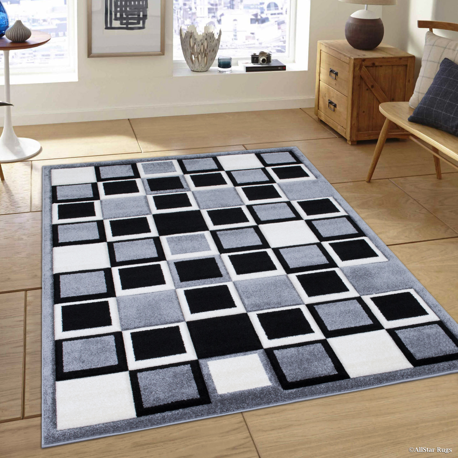 "Allstar Grey Modern Geometric Black Square Formal design Area Rug (7' 9"" x 10' 5"")"