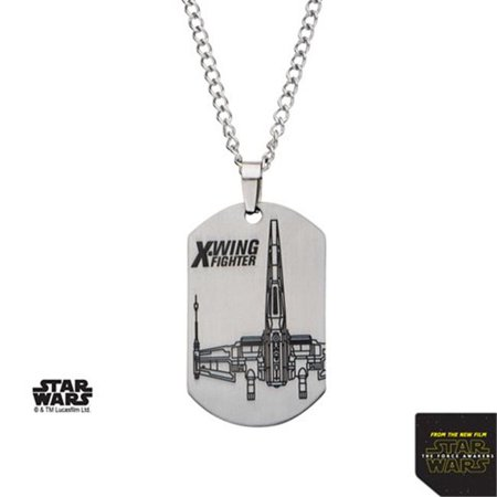 Star Wars SW7XWLZPNK01 Episode 7 X-Wing Fighter Laser Etched Dog Tag Stainless Steel Pendant with Chain, 22 - Star Wars Dog Accessories