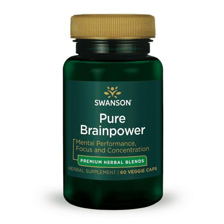 Swanson Pure Brainpower Herbal Blend Vegetable Capsules, 60 Ct Formula Herbal Blend 60 Capsules