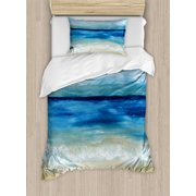 Art Duvet Cover Set, Tropical Sandy Beach Pure Waves Tranquil Ocean under Clouds Summer Scenery, Decorative Bedding Set with Pillow Shams, Navy Blue Pale Brown, by Ambesonne