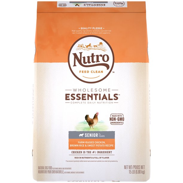 NUTRO WHOLESOME ESSENTIALS Senior Natural Dry Dog Food, Farm-Raised Chicken, Brown Rice & Sweet Potato Recipe, 15 lb. Bag
