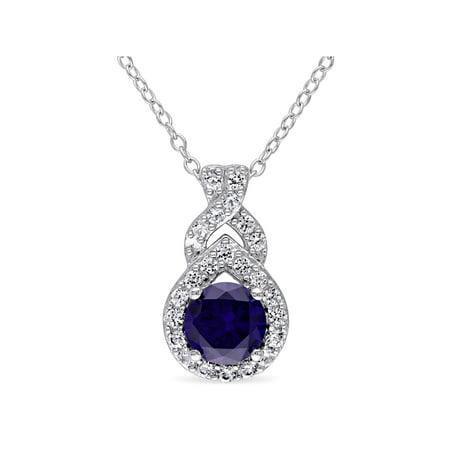 Diamond Blue Sapphire Teardrop Pendant (Tangelo 1-3/4 Carat T.G.W. Created Blue and Created White Sapphire Sterling Silver Teardrop Pendant, 18