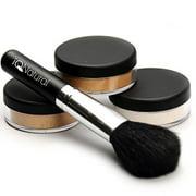 iQ Natural Loose Mineral Foundation Makeup Kit - 4 Piece Full Size Set (MED)