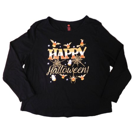 Womens Black Happy Halloween T-Shirt Candycorn Witch & Ghost Tee Shirt