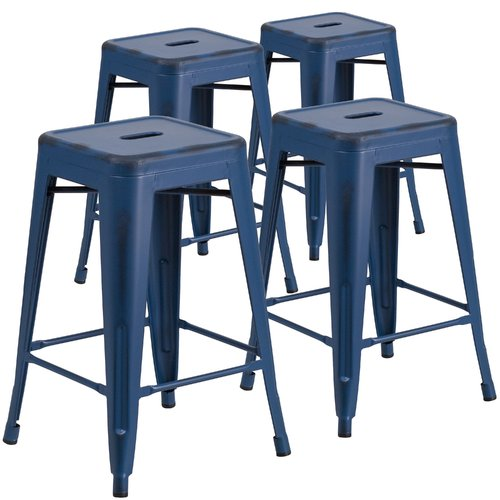 Breakwater Bay Linwood 24'' Patio Bar Stool (Set of 4)