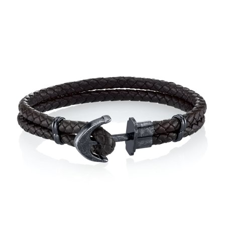 Men S Leather And Stainless Steel Anchor Bracelet