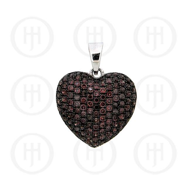 Doma Jewellery MAS07014 Sterling Silver -CZ Puffed Heart Micro Pave Pendant Chocolate Large -P