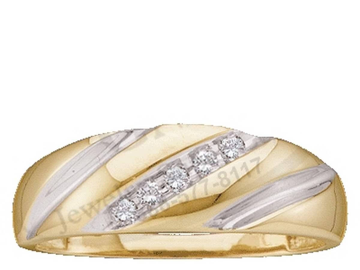10k Yellow Gold Round Channel-set Natural Diamond Mens 2-tone Wedding Anniversary Band (.10 cttw.) size- 9.5 by