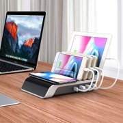 GLiving  USB Charging Station Dock - 4-Port - Fast Charge Docking Station for Multiple Devices - Multi Device Charger Organizer for Apple iPad iPhone and Android Cell Phone and Tablet