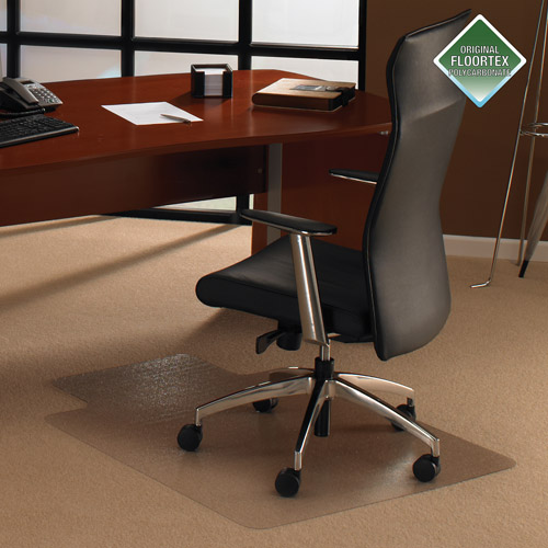 "Cleartex UltiMAT Polycarbonate 47"" x 35"" Rectangle Gripper Chairmat with Lip"