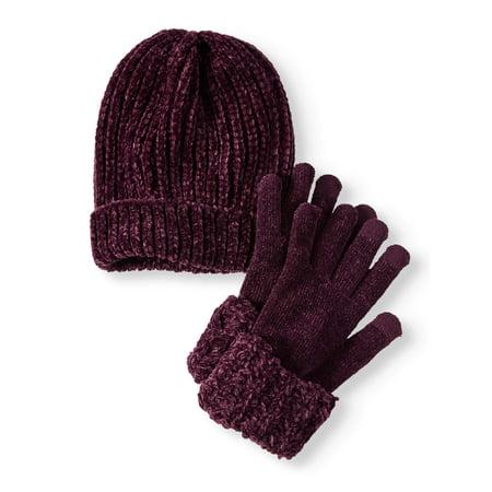 039b2eee90c TIME AND TRU - Women s Chenille Beanie   Cuff Glove 2-Piece Set -  Walmart.com