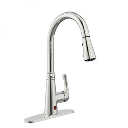 BOHARERS Touchless Kitchen Sink Faucet with React Touch Free Technology,  Single Handle Brushed Nickel