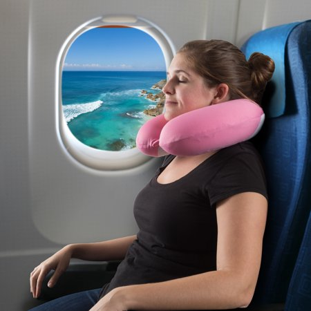 Memory Foam Travel Pillow- With Gel That Cools for Head/Neck Support with Pillowcase for Sleeping, Traveling, Airplanes, Trains by (Pink)