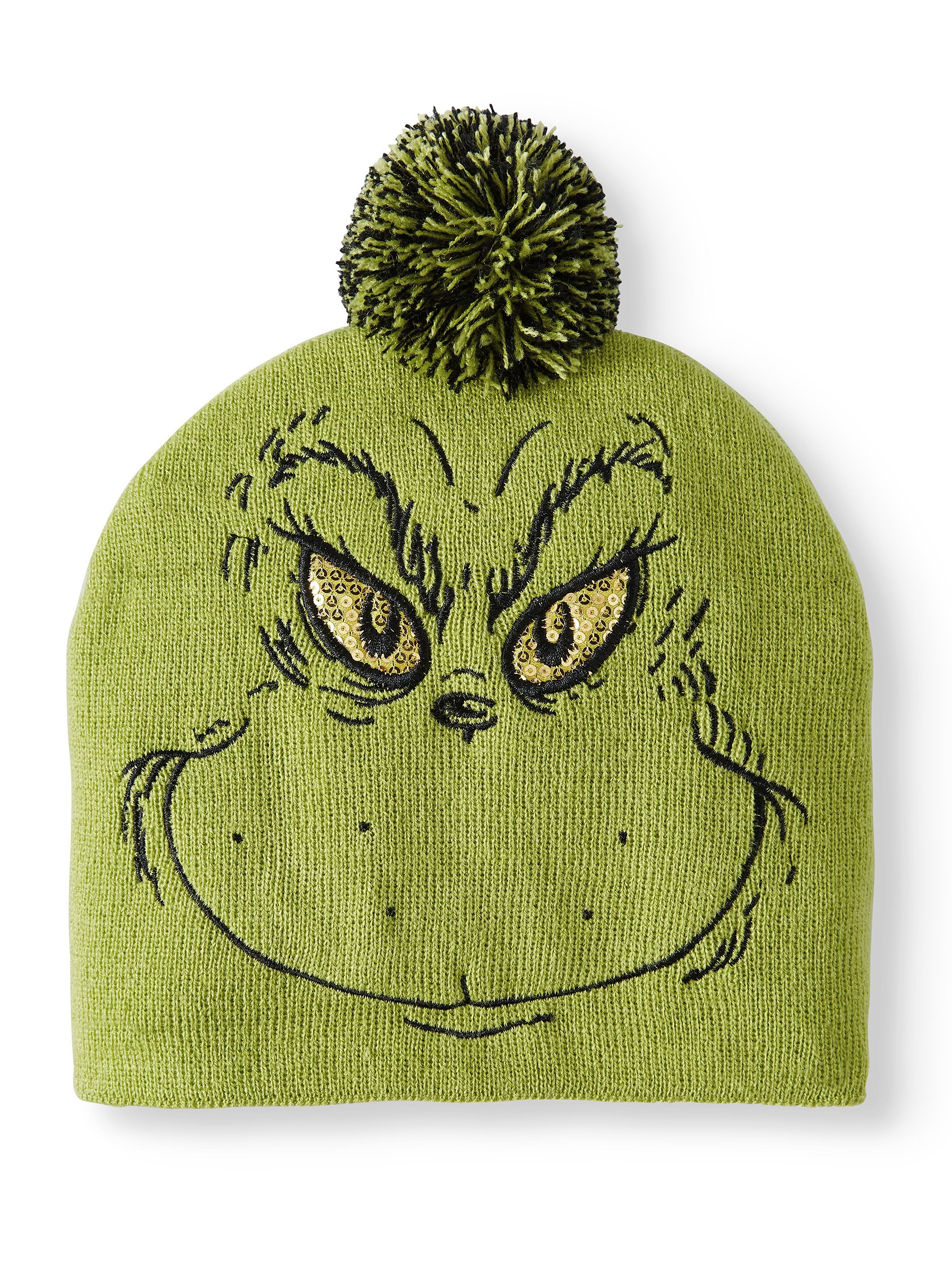 22865652e6dea The Grinch Juniors Knitted Beanie with Sequin Eyes and Pom – Walmart ...