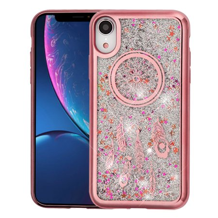 Rose Gold Electroplating/Dreamcatcher/Silver Confetti Quicksand Glitter  Hybrid Protector Cover for iPhone XR