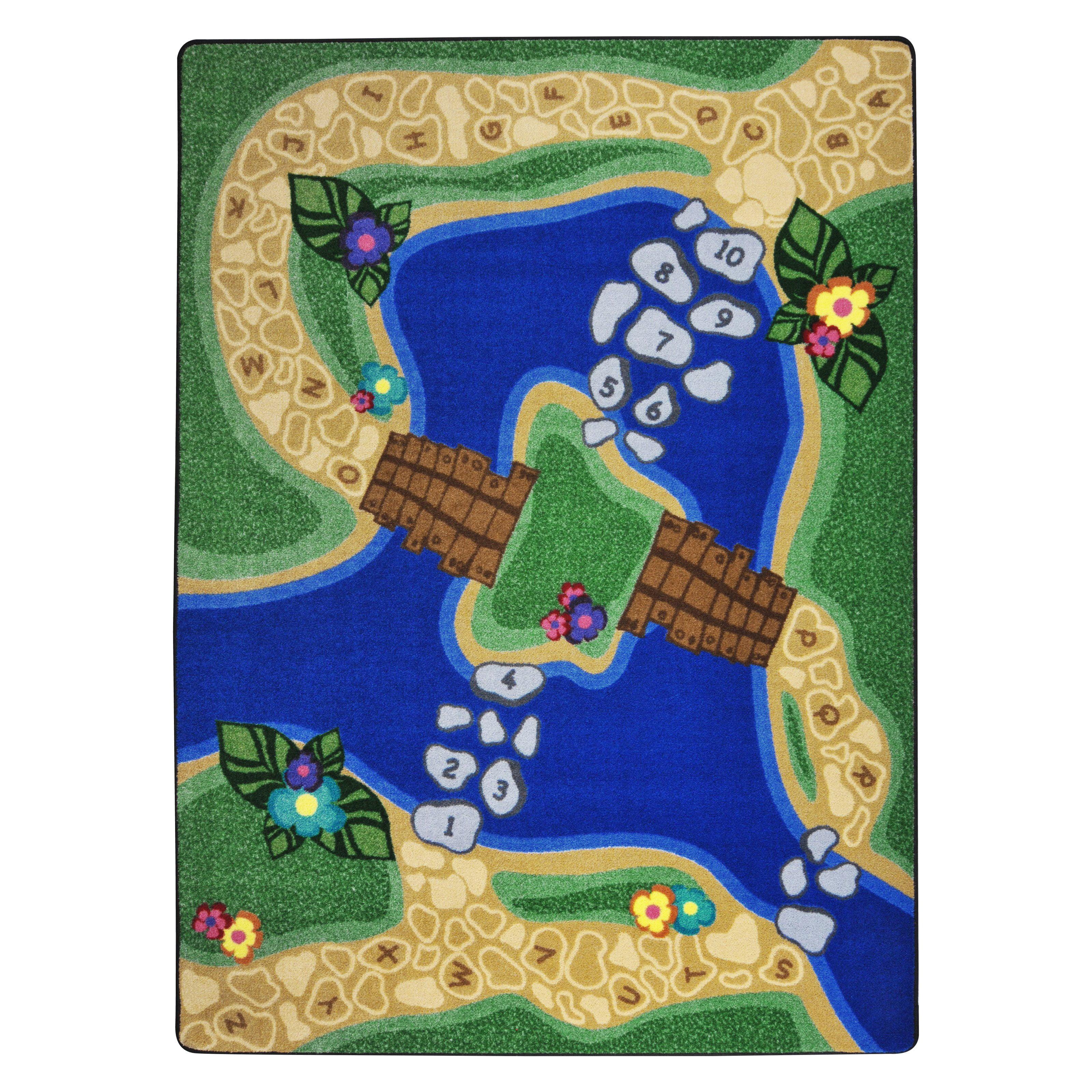 Joy Carpets Kid Essentials Alphabet Trail Green/Blue Area Rug