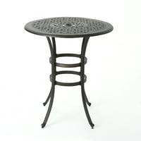 Calandra Outdoor 37 Inch Cast Aluminum Round Bar Table, Bronze
