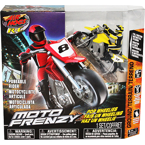 Air Hogs R C Moto Frenzy Yellow Motorcycle Pop Wheelies by