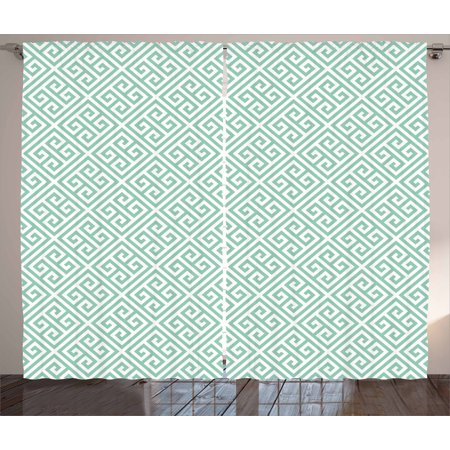 Greek Key Curtains 2 Panels Set, Pastel Green and White Symmetrical Motifs Inspired by Grecian Culture, Window Drapes for Living Room Bedroom, 108W X 108L Inches, Pistachio Green White, by Ambesonne