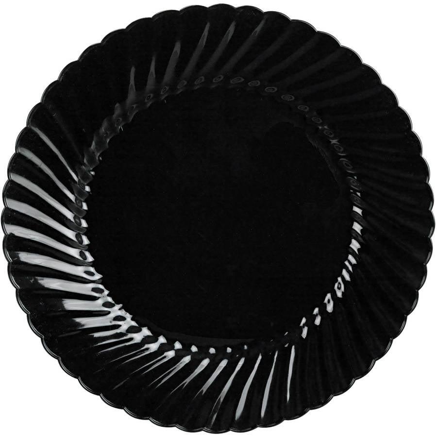 WNA Classicware 10.25 in Plastic Black Plates, 144 count