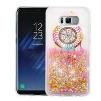 Kaleidio Case For Samsung Galaxy S8 G950 [Quicksand Glitter] TPU Gel Slim Hybrid Skin Cover w/ Overbrawn Prying Tool [Liquid Dreamcatcher & Gold Stars]