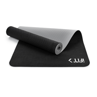 iFit 6mm Dual-Sided Mat for Yoga, Pilates, and Floor Exercise - Black and Grey