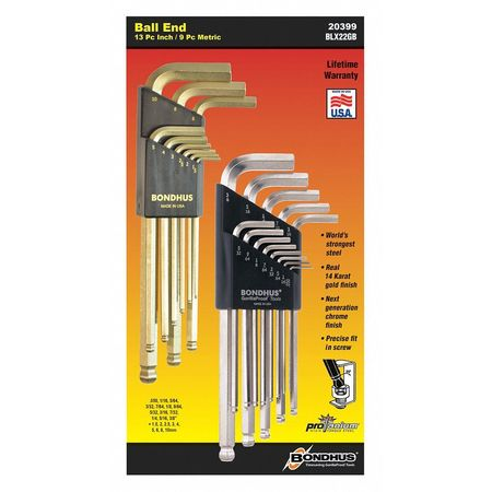 22 Piece BriteGuard and GoldGuard Ball End L-Wrench Set Double Pack