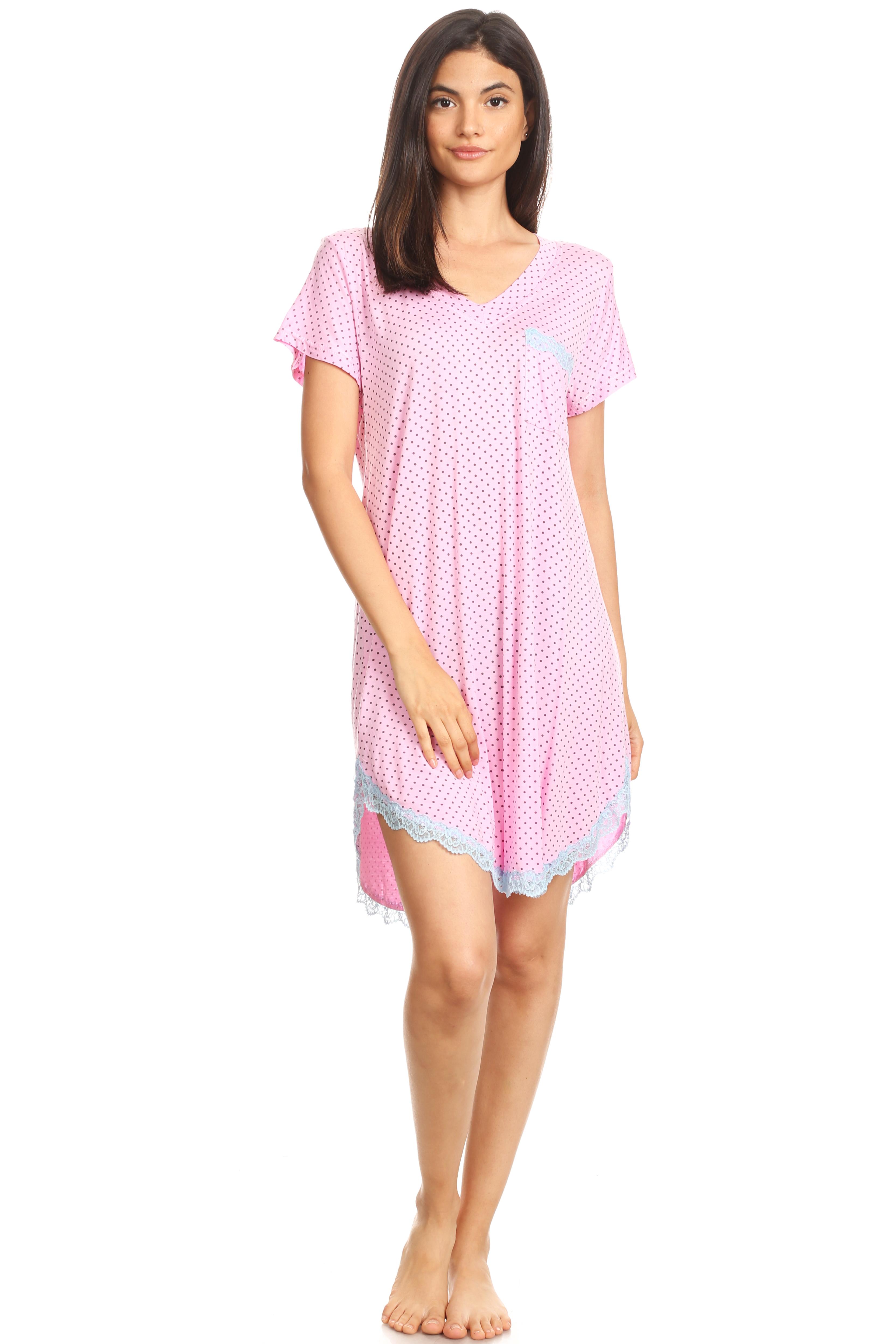 301 Womens Nightgown Sleepwear Pajamas - Woman Sleeveless Sleep Dress Nightshirt Gray L