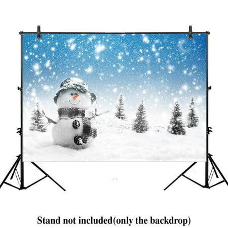 GreenDecor Polyster 7x5ft christmas Xmas new year photography backdrop background winter trees pine wonderland landscape snow snowflake snowman snowfall frost](Winter Wonderland Photo Backdrop)