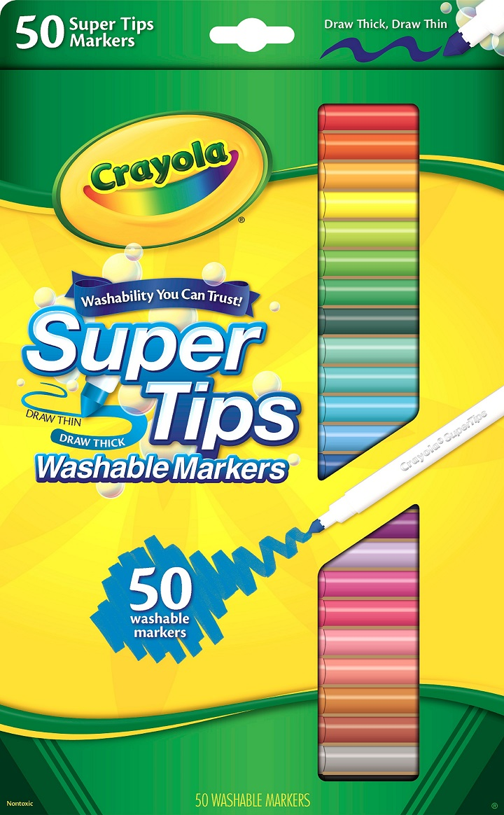 Crayola Super Tips Fine Line Washable Markers, 50 Count by Crayola