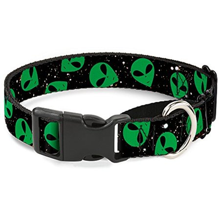 Wide Martingale Collar - Buckle-Down Aliens Head Scattered Galaxy2 Green Black Martingale Dog Collar