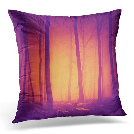 ARHOME Pink Halloween Spooky Purple Red Vintage Color Forest Scene with Yellow Orange Light in Green Forrest Pillow Case Pillow Cover 20x20 - Halloween Forest Scene