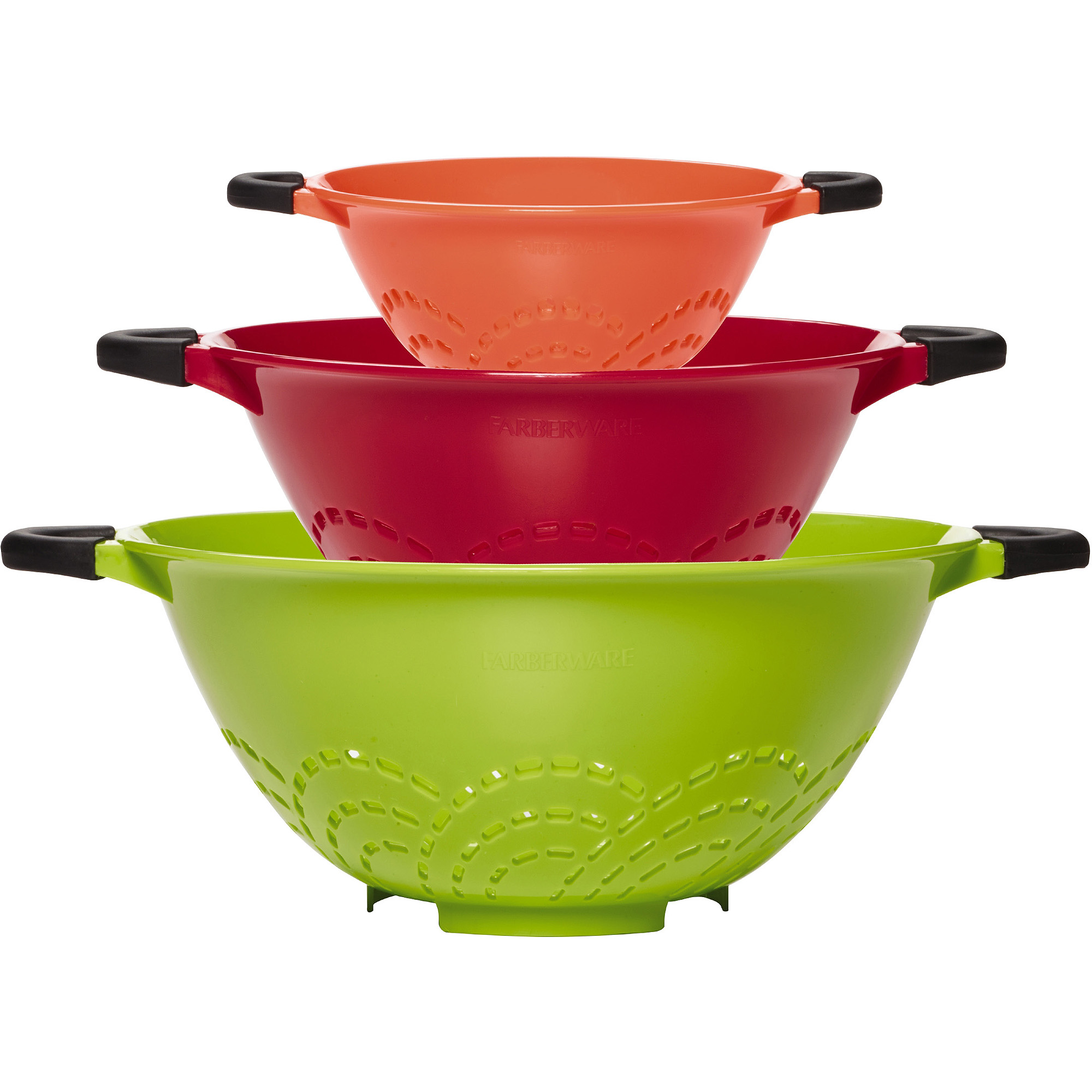 Farberware Soft Grip Set of 3 Colanders, Assorted Colors