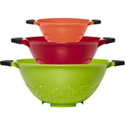 Farberware Soft Grip Assorted Color Strainers, 3 Count
