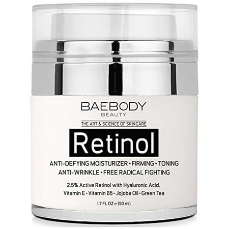 Baebody Retinol Moisturizer Cream for Face and Eye Area - With 2.5% Active Retinol, Hyaluronic Acid, Vitamin E. Anti Aging Formula Reduces Wrinkles, Fine Lines. Best Day and Night Cream. 1.7 Fl. (Best Cream For Decolletage Lines)