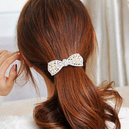 Pearl And Diamond Bow Hair Accessories F192- Gold - image 6 of 7