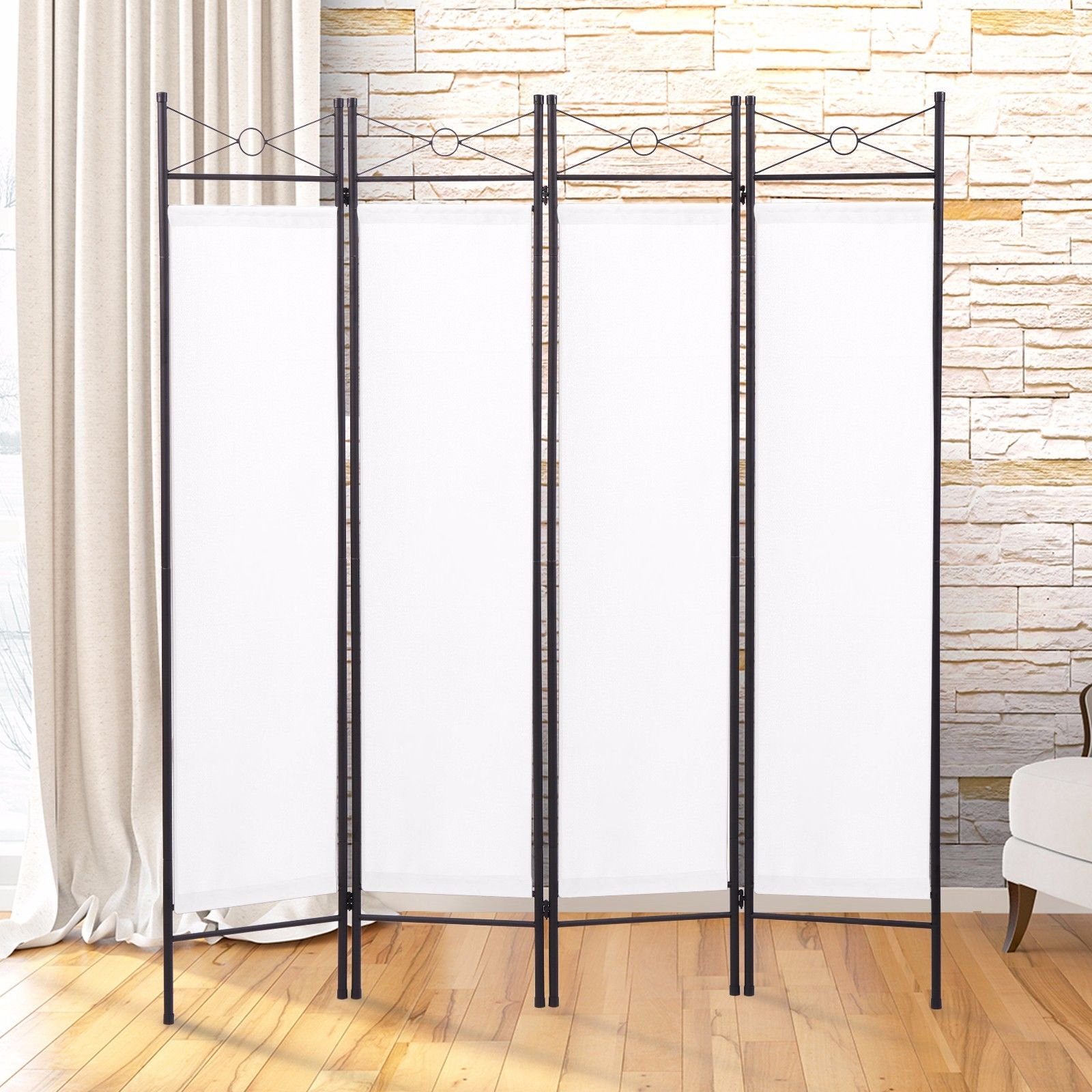 Lazymoon 4 Panel Steel Room Divider Screen Fabric Folding Partition Home  Office Privacy Screen White