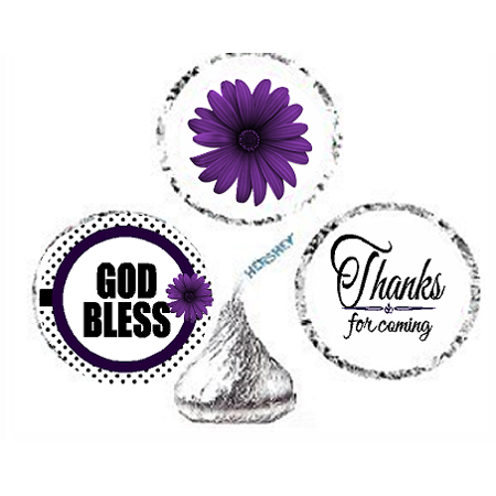216ct Purple God Bless Religious Baptism Communion Party Favor Hersheys Kisses Candy Decoration Stickers / Labels - Baptism Accessories