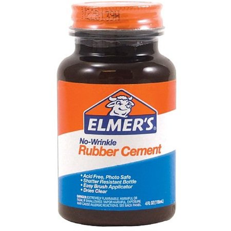Elmer's No-Wrinkle Rubber Cement, Clear, Brush Applicator 4 oz (Pack of 2)