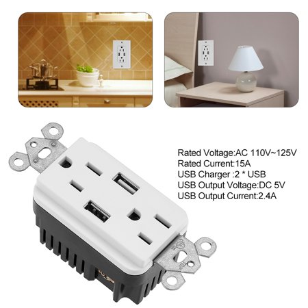 VGEBY Double Outlet Power Supply Socket Strip Receptacle with DC 5V 2.4A Dual USB Wall Charger , Socket Strip, Outlet Power Socket