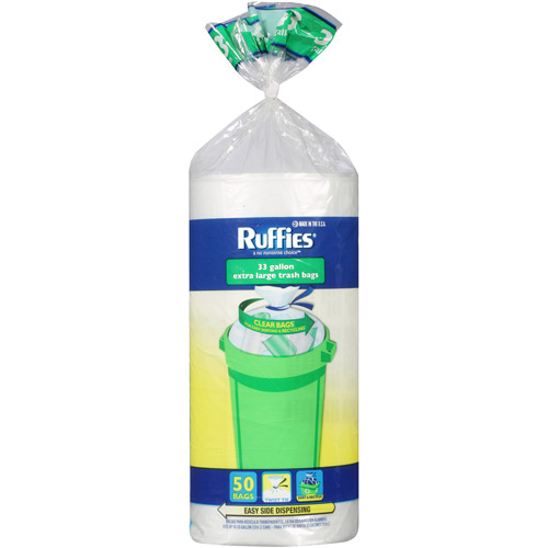Ruffies Extra Large Trash Bags, Clear, 33 gal, 50 count