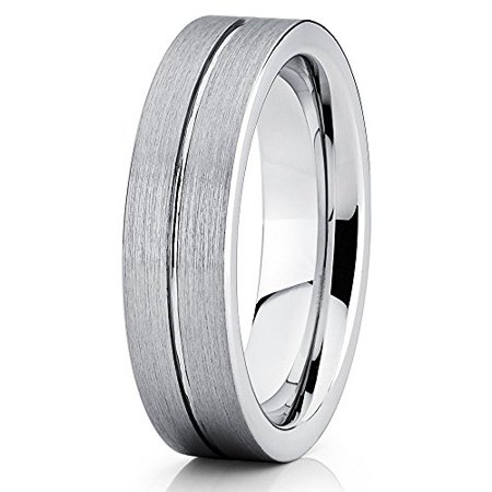 Tungsten Wedding Band Tungsten Carbide Ring Brushed Tungsten Ring Gray Tungsten Band 6mm Comfort Fit